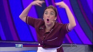 Bruna Campello se transforma em Cremylda - Única mulher na final do quadro diverte plateia do Faustão