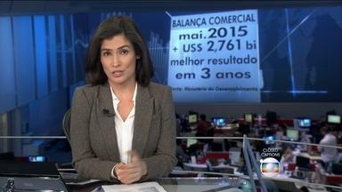 Balança comercial apresenta o melhor resultado em três anos - No mês de maio, as importações brasileiras caíram mais do que exportações, e a balança comercial registrou o melhor resultado em três anos: dois bilhões e setecentos milhões de dólares.