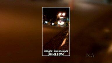 Telespectador filma acidente na região da Vila C - A batida foi entre um ônibus e uma moto