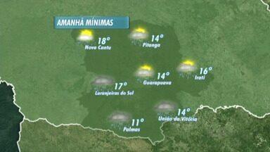 O domingo vai ser de chuva em Guarapuava e região! - O tempo neste domingo deve ficar bem instável. A previsão é de pancadas de chuva para boa parte do dia. As temperaturas pela manhã não devem ficar tão baixas, e ao longo do dia o sol pode aparecer em algumas cidades.