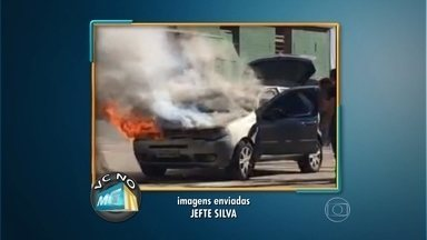 Telespectador grava flagrante de carro pegando fogo no centro de Belo Horizonte - Vídeo foi enviado para o Whatsapp do MGTV, pelo número (31) 9923-3700.