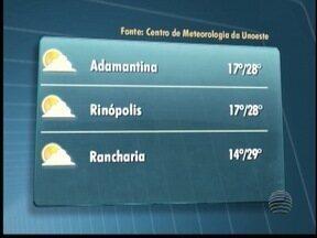 Temperaturas amenas devem predominar no Oeste Paulista - Mesmo com sol, máxima em Pres. Prudente não passa dos 27º C.