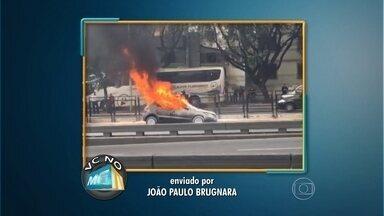 Telespectador flagra carro pegando fogo em avenida de BH - Incidente aconteceu an Avenida Nossa Senhora do Carmo