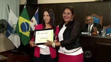 TV Rio Sul é homenageada na Câmara de Vereadores de Sapucaia, RJ - Emissora foi representada pela jornalista Cibele Moreira.