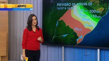 Tempo: previsão é de altos volumes de chuva até o final de semana no RS - No Norte e Serra pode chover até 200mm.