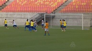 Nacional treina na arena e técnico faz mistério para jogo contra o Vilhena - Duelo ocorre neste domingo, na Arena da Amazônia, pela segunda rodada da Série D do Brasileiro.