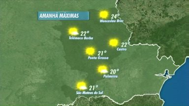 Tempo fica ensolarado nos Campos Gerais neste domingo - Veja a previsão do tempo para outras cidades da região