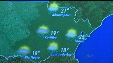 Confira a previsão do tempo para a terça-feira (21) - Tempo deve ficar instável nesta terça-feira (21) em todo o Paraná. Em Curitiba, mínima de 12 graus e máxima de 19 graus.