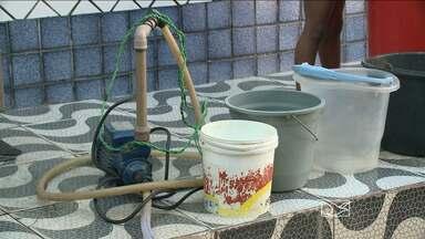 Moradores do Bairro de Fátima reclamam de falta d'água nas residências - A falta d'água é um tormento pra muita gente em São Luis. No Bairro de Fátima, os moradores reclamam que há cinco anos não chega água regularmente nas torneiras.
