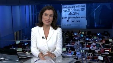 Produção da indústria tem o pior semestre em seis anos - No primeiro semestre de 2015, a produção da indústria brasileira caiu mais de 6%, quando a gente compara com a de um ano atrás.