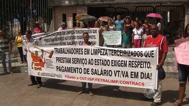 Terceirizados do Governo da Bahia fazem protesto em Salvador - A manifestação foi feita nesta quarta-feira (5), no bairro de Nazaré.