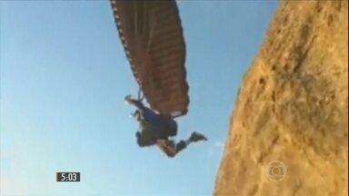 Paraquedista morre no RJ praticando voo de speed fly ou parapente de velocidade - Ele pulou da Pedra Bonita e logo após o salto, o equipamento fechou com uma mudança de vento.