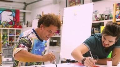Luan Santana mostra habilidade e dom artístico com Romero Britto - Confira vídeo completo do quadro Fazendo Arte