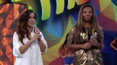 Anitta e Ludmilla descartam rivalidade e falam sobre união dos fãs - Cantoras ressaltam no palco do Domingão que uma torce pelo sucesso da outra
