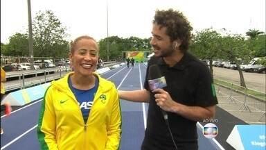 Repórter Felipe Andreoli conversa com Terezinha Guilhermina - A atleta paralímpica manda recado para a galera do Encontro