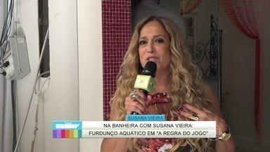 Susana Vieira mostra os bastidores de A Regra do Jogo no Vídeo Show - Na novela das 9, Adisabeba dá banho em nora em cena