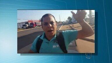 Imagens mostram policial agredindo empresário - Situação aconteceu em um posto de combustíveis