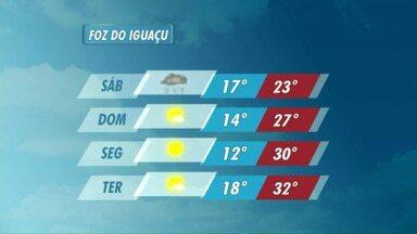 Confira a previsão do tempo para Foz do Iguaçu - No sábado há previsão de chuva na cidade.
