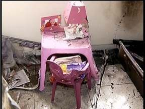 Incêndio deixa criança de 5 anos ferida em Governador Valadares - Incêndio teve início depois que o ventilador fechou curto e pegou fogo.