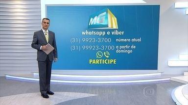 Whatsapp e Viber do MGTV passa a ter um 9 a mais a partir de domingo - No dia 11 de outubro, todos os números de celulares em Minas Gerais terão que ser acrescidos de 9 no início. O número do MGTV passa a ser 31- 9 9923-3700.