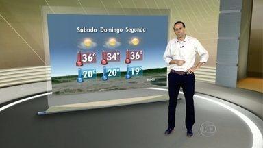 Feriadão no Rio deve ser com dias quentes - Ventos do Norte vão aumentar a sensação de calor no Rio. No fim de semana, a temperatura deve chegar aos 36 graus no sábado (10). No domingo, cai um pouco e fica em 34 graus. Já na segunda-feira (12), a máxima pode ir até 36 graus.