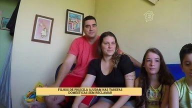 Patrícia Poeta conhece a casa de uma família com rotina de organização - Filhos de Priscila ajudam nas tarefas domésticas sem reclamar