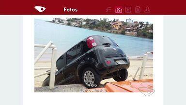 VC no ESTV: Motorista perde controle e carro fica pendurado em praia de Guarapari - Caso aconteceu na manhã deste domingo (25).