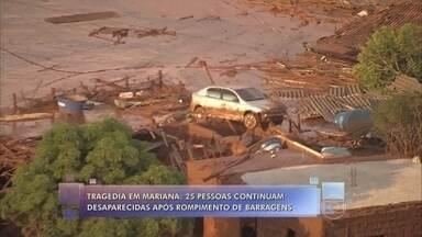 Barragens de mineradora se romperam e enxurrada de lama destruiu distrito de Mariana - 25 pessoas continuam desaparecidas após tragédia