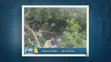 Vizinho acumula lixo e gera queixas de moradores - Ela reclamou via whatsapp. Sujeira está no quintal do vizinho que é encostado no muro da sua casa.