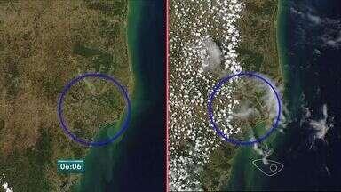 Satélite da Nasa mostra evolução da lama na foz do Rio Doce, no ES - Registros foram feitos desde o rompimento até esta segunda-feira (30). Área total atingida pelos rejeitos é de 80 km2, segundo o Ibama.