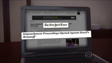 "Jornais do mundo inteiro repercutiram o início do processo de impeachment de Dilma - Segundo a agência Associated Press, em texto publicado no site do The New York Times, Eduardo Cunha é um ""inimigo jurado"" da presidente."