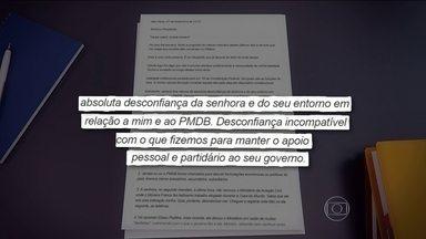 Temer acusa Dilma de não ter confiado nele e no PMDB em carta enviada à presidente - Em tom duro de desabafo, vice-presidente diz que sempre foi visto com desconfiança e menosprezo e enumerou 11 motivos de ressentimento com o governo.