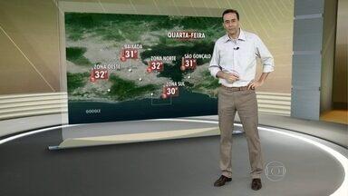 Rio deve ter tempo úmido e abafado nesta quarta-feira (9) - O Sol volta a aparecer nesta quarta-feira, mas as rajadas de vento podem chegar a 60 km/h no fim da tarde. A temperatura deve chegar à máxima de 32 graus na Região Metropolitana.