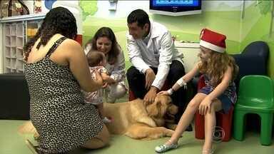 Cachorro leva alegria para crianças internadas em hospital - O cachorro chegou de surpresa, acompanhado do Papai Noel, no Hospital Santa Catarina. Os dois animaram o dia das crianças, que devem passar o Natal hospitalizadas.