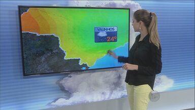 Previsão do tempo é de chuva na região durante o fim de semana - Em Campinas (SP), a temperatura mínima será de 19°C e a máxima pode chegar a 25°C.