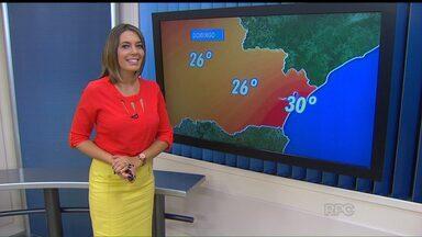 Previsão de temperaturas altas para o fim de semana em todo o Paraná - Em Curitiba, a máxima do sábado (16) deve chegar aos 28 graus e no domingo (17) aos 26 graus.