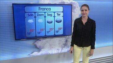 Final de semana deve ser chuvoso na região de Ribeirão Preto - Em Franca (SP), termômetros ficam entre 18ºC e 25ºC.
