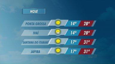 Temperaturas seguem altas nesta segunda-feira - Em Ponta Grossa e Ivaí, as máximas chegam a 28 graus.