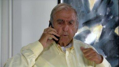 Raj manda informações quue conseguiu em hotel em Dubai para Cadore - Cadore conta para neta que vai se casar