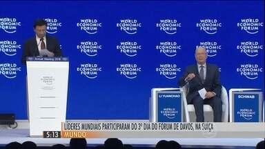 Importantes líderes mundiais participaram do terceiro dia do Fórum de Davos, na Suíça - O futuro da UE, a economia da China e a crise entre palestinos e israelenses foram destaques.
