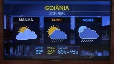 Confira a previsão do tempo para Goiânia - A previsão para esta sexta-feira é de chuva durante a tarde, na capital.