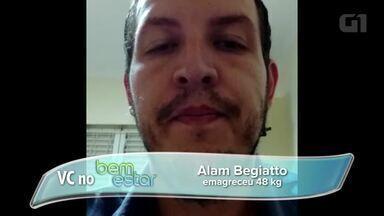 'Ajuda da esposa foi primordial', diz homem que perdeu 48 kg em 6 meses - Alam Augusto Begiatto, de 31 anos, levou advertência de médico e foi de 148 kg a 90 kg
