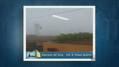 Vento forte assusta moradores de Santa Rita do Passa Quatro - Chuva começou nesta sexta-feira (6) por volta das 18h. Árvores e também um muro foram derrubados.