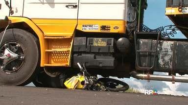 Homem de 42 anos morre em acidente grave na PR-170 em Guarapuava - O acidente foi entre uma moto e um caminhão
