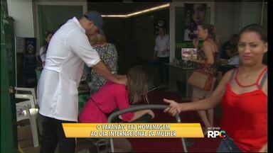 RPC faz ação para homenagear as mulheres - Na região norte da cidade as mulheres recebem um tratamento especial com direito à massagem, maquiagem e flores.