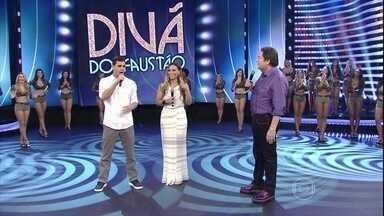 Juliano Cazarré e Suzana Pires respondem a questões da galera no 'Divã do Faustão' - Atores participam do 'Domingão'