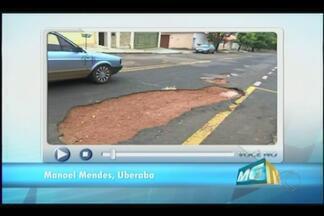 Você no MGTV: Buracos tomam conta de rua em Uberaba - Prefeitura diz que o bairro onde fica a Rua Engenheiro Tomás Guimarães está como prioridade no cronograma de obras.