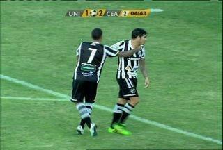 Aos 4 minutos, Zezinho amplia para o Ceará - Após sobra de bola, Sandro passa para Zezinho que manda para o gol e amplia. 1 x 3 para o Ceará.