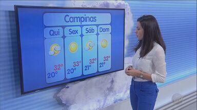 Previsão é de máxima de 32° na quinta-feira (21) em Campinas e região - Confira a previsão do tempo nas cidades da região.