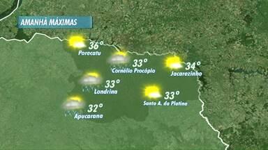 Fim de semana pode ter pancadas rápidas de chuva em Londrina e região - Mesmo assim, temperaturas seguem altas, com 33 graus em Londrina e 36 em Porecatu.